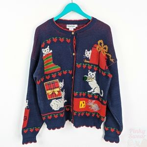 VTG 80s Ugly Christmas Cardigan Knit Sweater Large